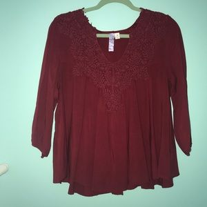 Deep red lace top